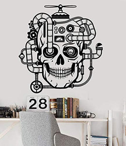 Vinyl Wall Decal Mechanical Skull Steampunk Head Room Design Stickers 1188