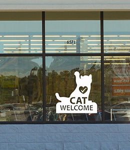 Vinyl Wall Decal Cat Logo Welcome Veterinary Clinic Pet Shop Stickers 2502