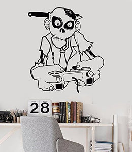Vinyl Wall Decal Zombie Gamer Teen Room Video Games Joystick Stickers 786