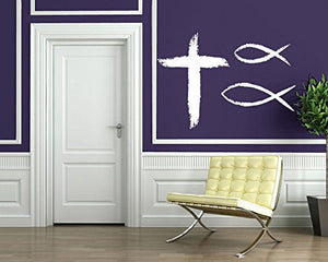 Wall Sticker Vinyl Decal Christian Symbols Faith Religion Cross God Fish n528