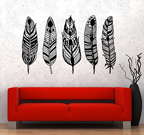 Vinyl Wall Decal Feathers Ethnic Style Rooms Decor Stickers 814
