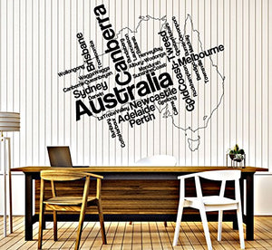 Wall Sticker Vinyl Decal Australia Map and Names of Cities in Continent n784