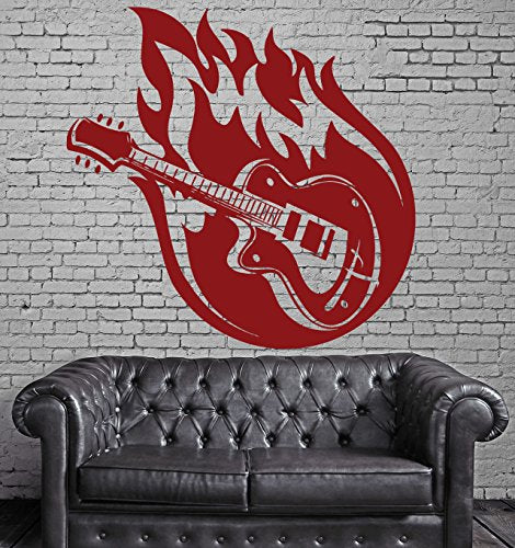 Vinyl Decal Colorful Music Guitar Strings Fire Wall Sticker n591