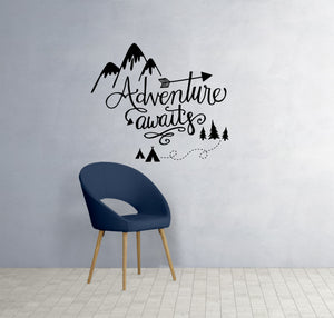 Adventure Awaits Saying Quote Typography  Word Art Wall Decal  Vinyl  Sticker