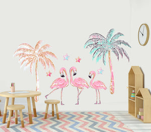 Palm tree flamingo Nursery Fabric Removable re-positionable wall decals stickers Kids