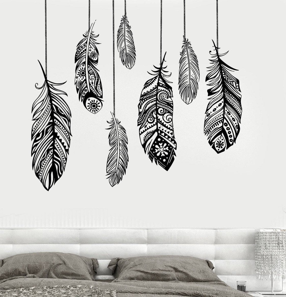 Boho patterned feathers abstract wall decal  vinyl wall sticker mural decor art