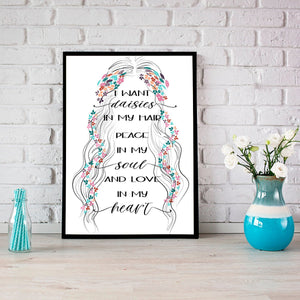 Gypsy soul daisies hippie heart quote minimalist poster wall print