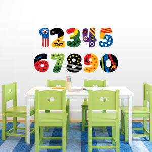 Superhero Numbers Set Fabric Removable re-positionable wall decals stickers