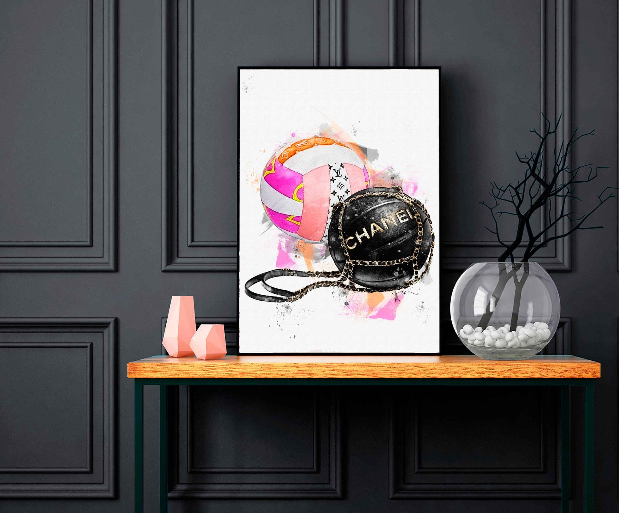 Watercolor Hand drawn Designer Luxury sports balls  Digital Download Printable wall art