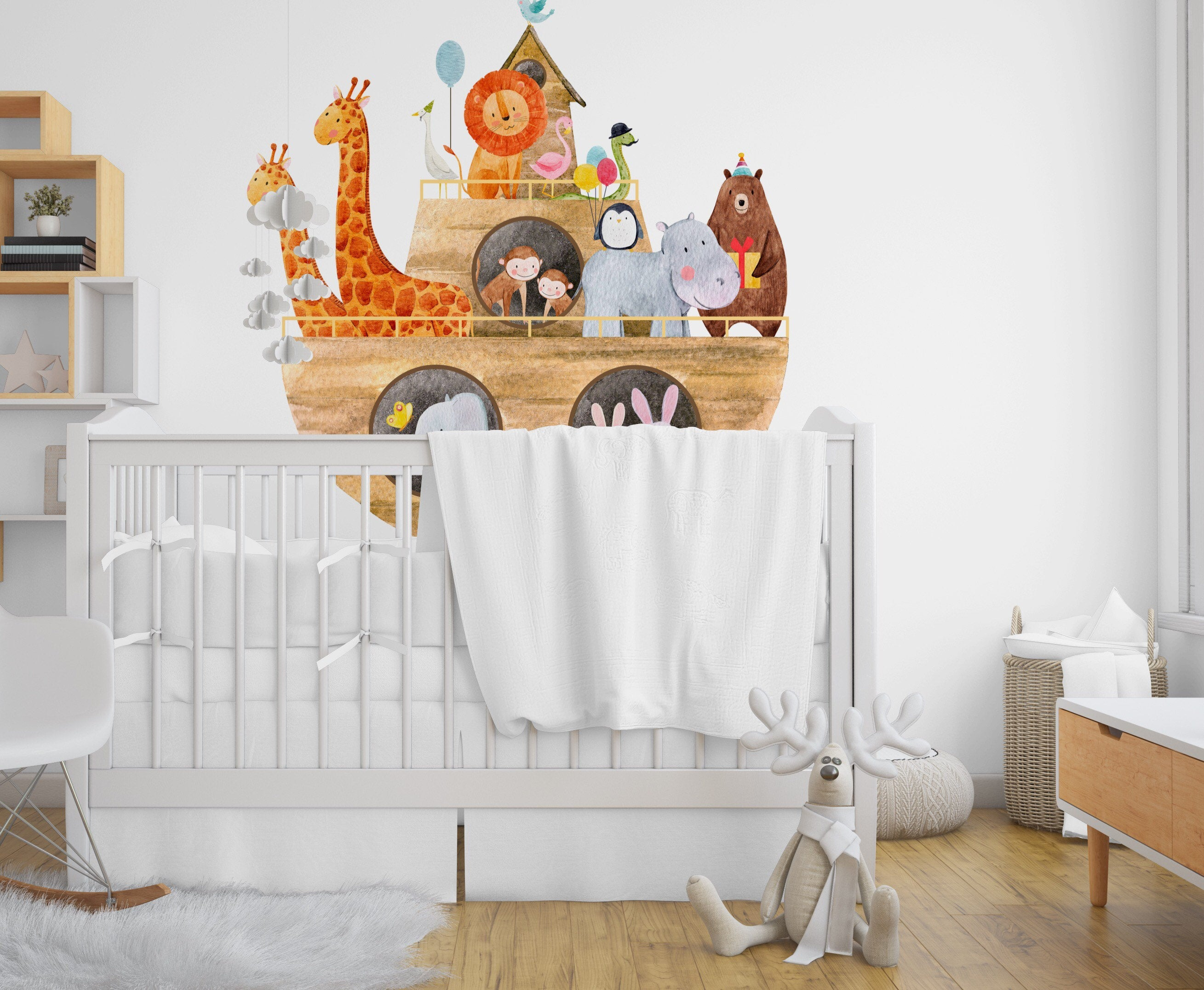 Noah's arc children's Fabric Removable re-positionable wall decals stickers