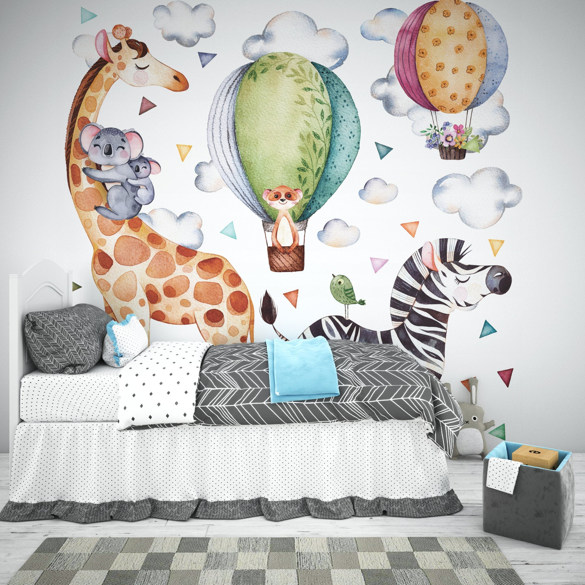 Hot air ballon Safari animal Set Fabric Removable re-positionable wall decals