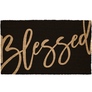 Blessed Reverse print Welcome Natural Coir Door Mat
