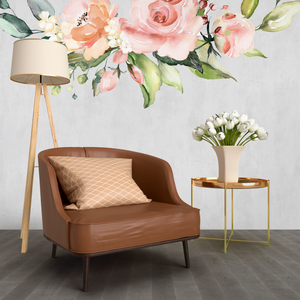 Blush floral Watercolor  Large Self Adhesive Wallpaper Mural - Peel and Stick Fabric wall decals