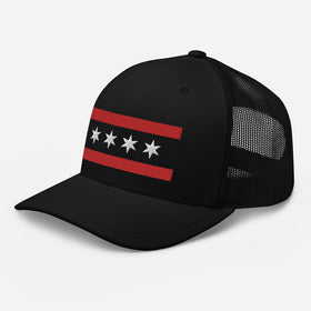 Red & Black Flag Mesh Snapback Hat