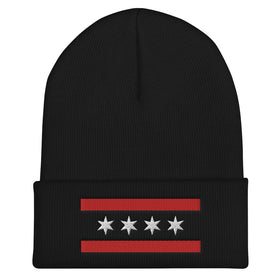 Red/Black/White Chicago Flag Beanie