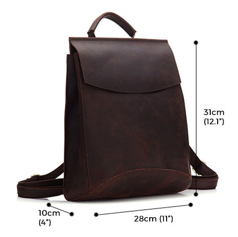 Madalin Retro Crazy Horse Leather Backpack Sizes