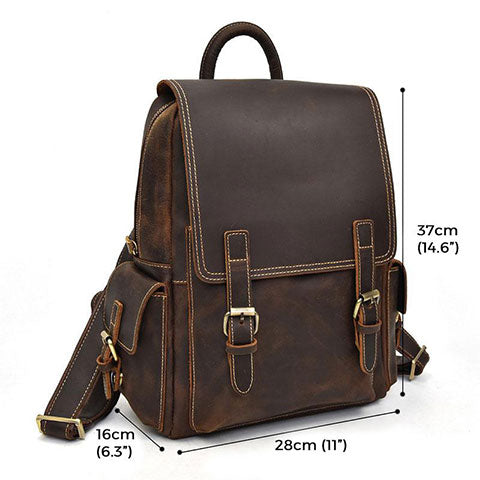Tatla Vintage Crazy Horse Leather Backpack Sizes