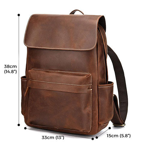 Dundas Crazy Horse Leather Backpack Sizes
