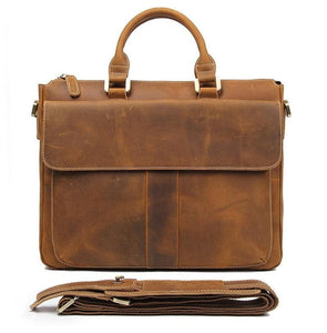 Holberg Classic Style Crazy Horse Leather Briefcase - Chilco Leather