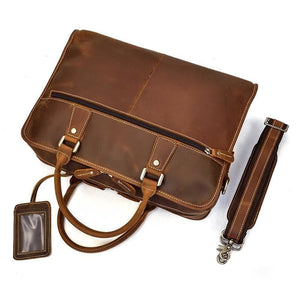 Merville Full Grain Leather Laptop Briefcase - Chilco Leather