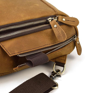 Mila Full Grain Leather Chest Bag With USB Cable Charge Adapter - Chilco Leather