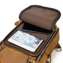 Load image into Gallery viewer, Mila Full Grain Leather Chest Bag With USB Cable Charge Adapter - Chilco Leather