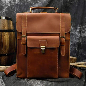 Hawkins Vintage Style Full Grain Leather Backpack - Chilco Leather