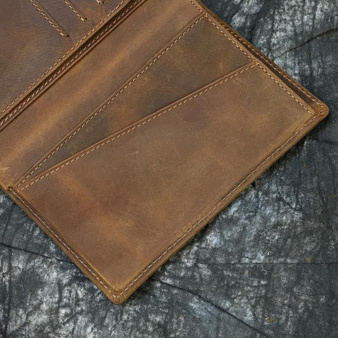 Bifold Crazy Horse Leather Passport Wallet