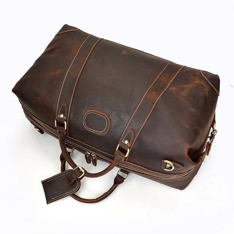 Rowland Crazy Horse Leather Duffle Travel Bag - Chilco Leather
