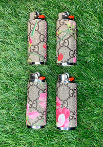 GG Bloom Lighter Case (Pink Stitching) - Chrome Case
