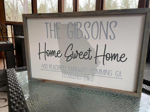 "Custom Home Sweet Home Sign - 12"" x 18"" (with Family Name; w/ State in background)"