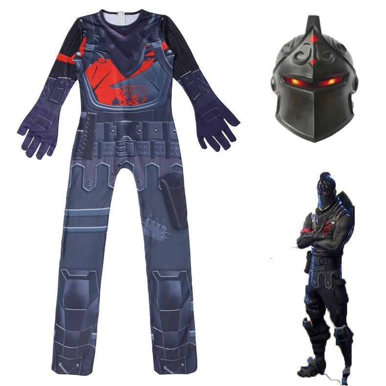 Kids Black Knight Costume Fortnite Jumpsuit With Mask Halloween Costume Party