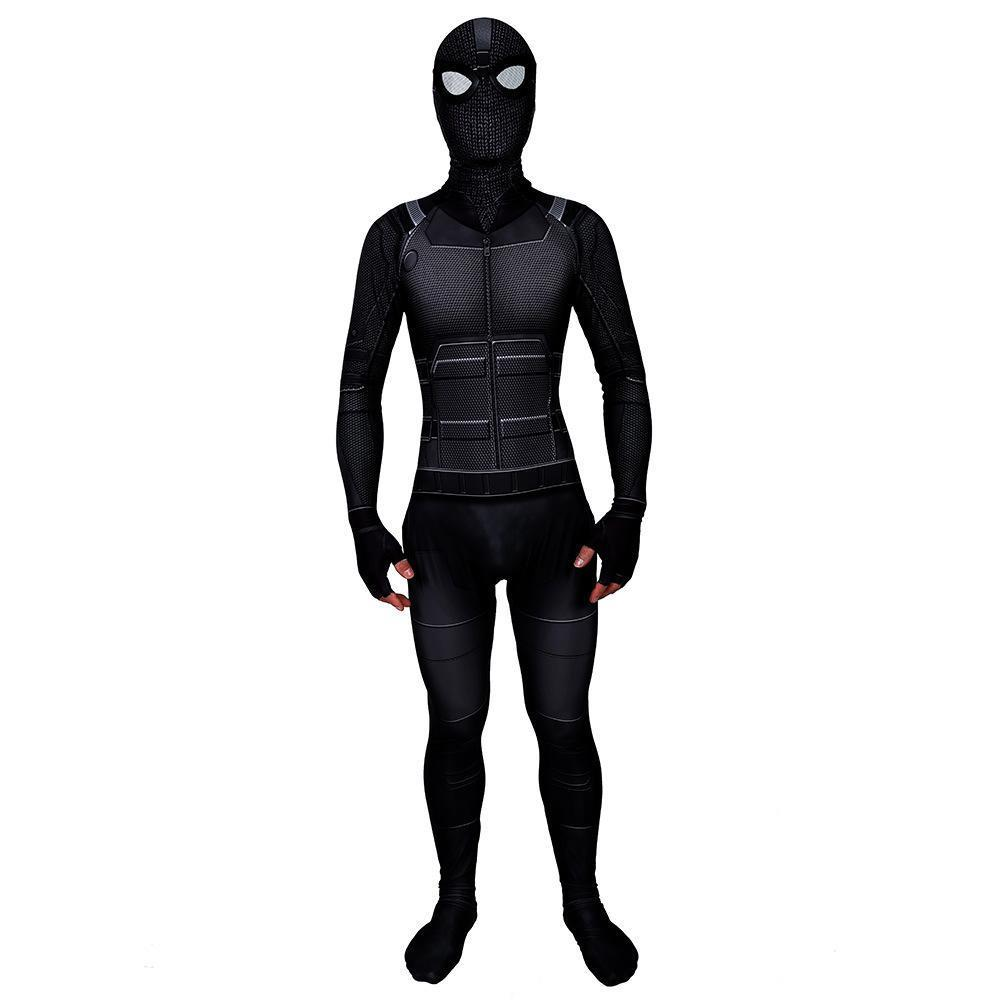 Kids Noir Stealth Suit Costume Spider-Man: Far From Home Jumpsuit With Mask Halloween Costume Party
