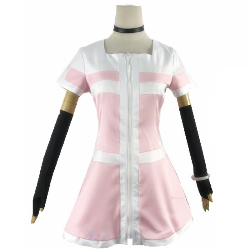 Akudama Drive Ordinary Person Dress Short Sleeve Cosplay Costumes  for Adult Pink White