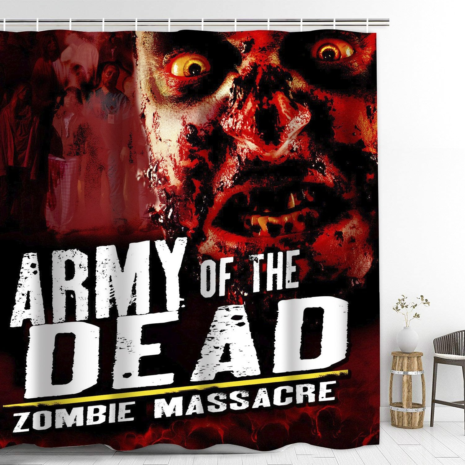 Army of the Dead Bathroom Shower Curtain with Hooks Extra Long Bath Decoration