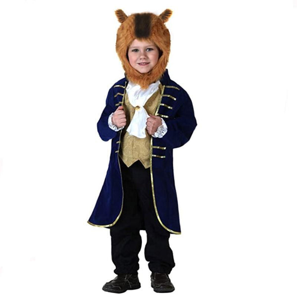 Beauty and Beast Prince Costume Kids Party Cosplay Prop Jacket Headgear
