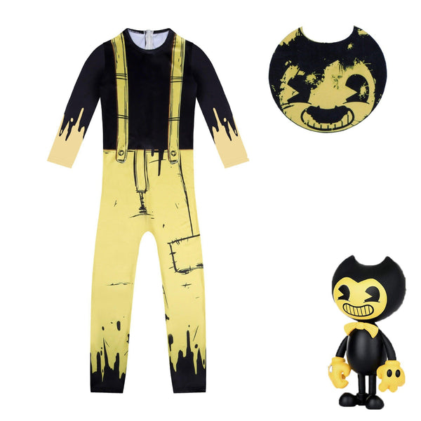 Bendy and The Ink Machine Costume Suit Yellow Jumpsuit for Kids Halloween Supplies