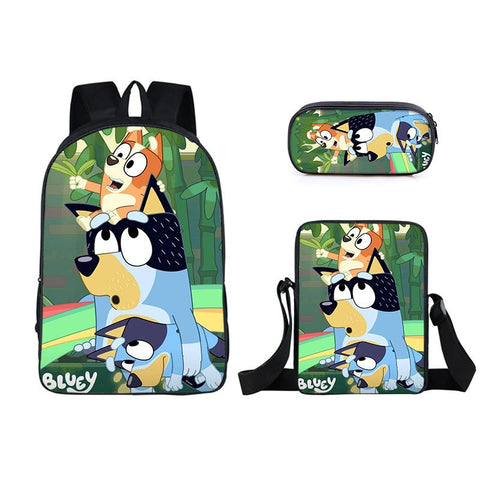 Bluey Backpack Set Pencil Case Messenger Bag 3 in 1 for Kids Teens
