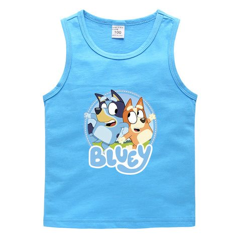Bluey Cotton Sleeveless T Shirt Cool Summer Tee for Kids