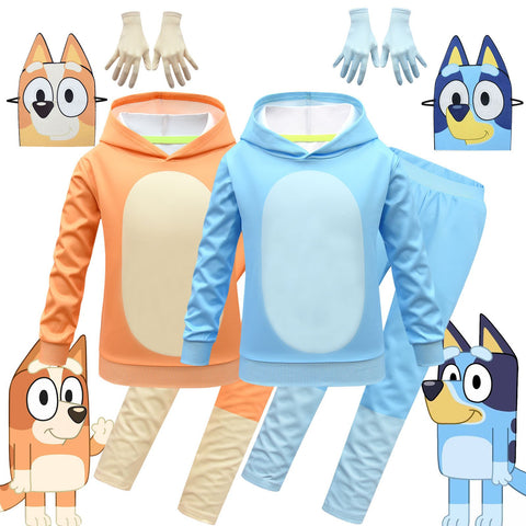 Bluey Hoodie and Sweatpants Set Long Sleeve Pullover Casual Pants Cosplay Costume for Kids
