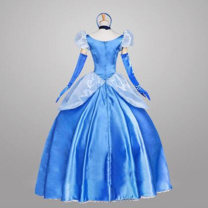 Cinderella Princess Dress Costumes Long Dress Blue for Adults