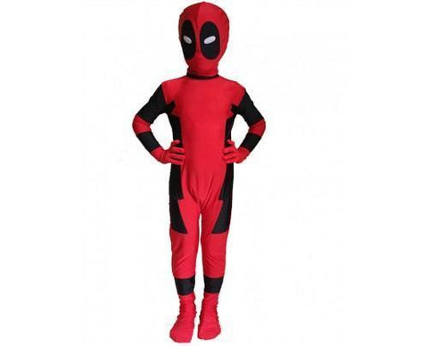 Kids Deadpool Red Cosplay Costume Onesie Jumpsuit