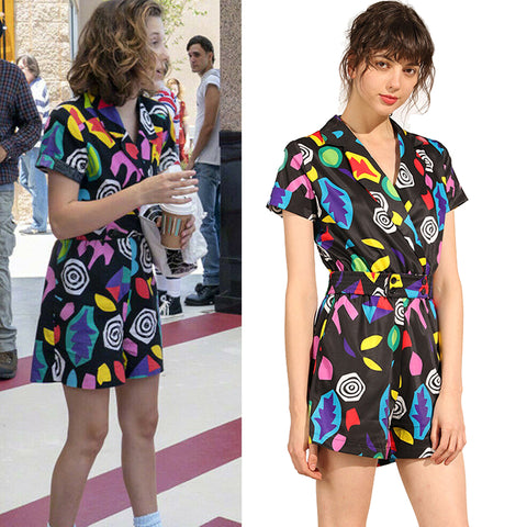 Eleven Costume Stranger Things Season 3 Colorful Short-Sleeve Romper Halloween Party