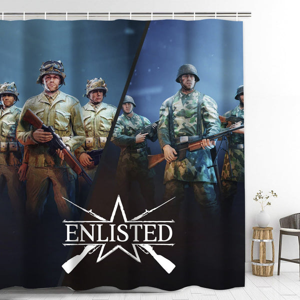 Enlisted Bathroom Shower Curtain with Hooks Extra Long Bath Decoration
