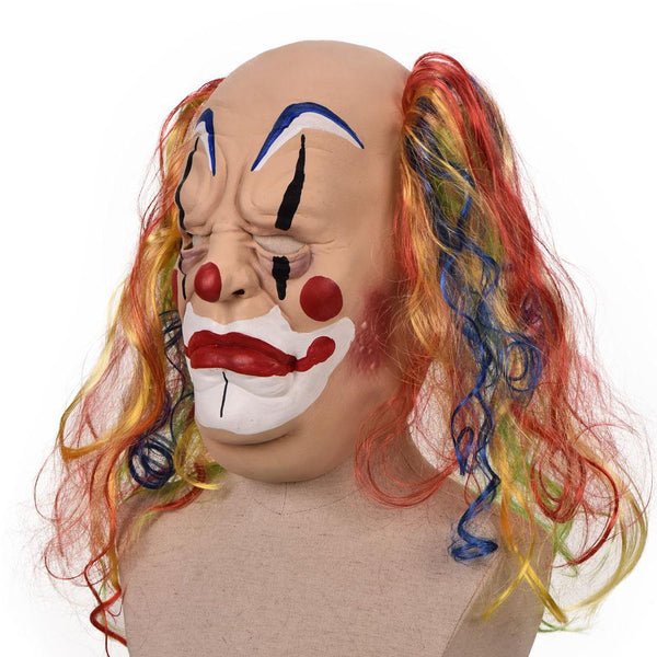 Fat Clown Face Cover Cosplay Props Halloween Party Horror Headgear Curly Hair