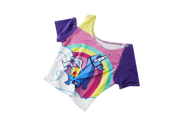 2019 Kids Fortnite 14 days of Summer Beach Bomber Crop Top Yoga Top Costume