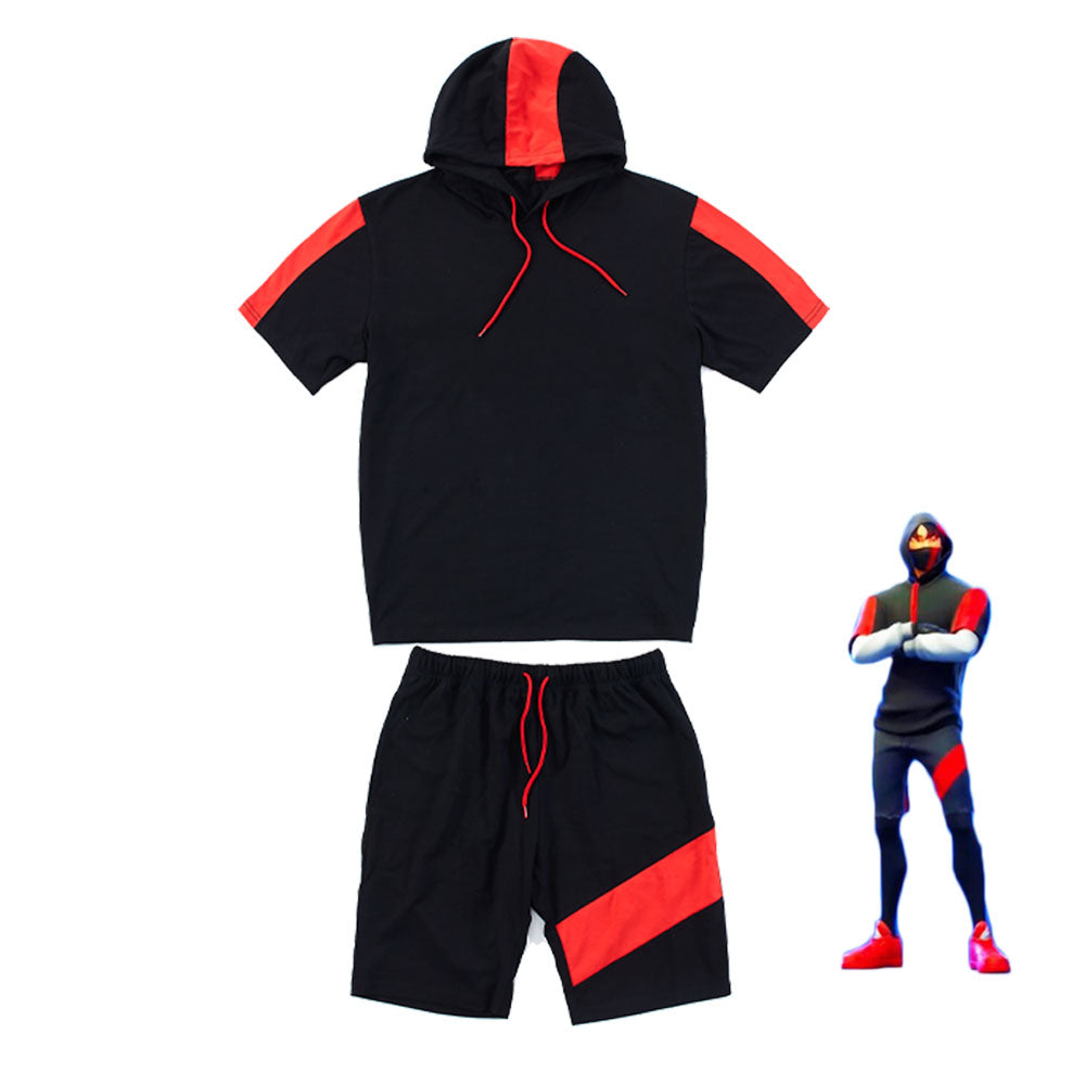 Adult Fortnite ikonik Costume Black Sports Pullover Hoodie and Shorts Set