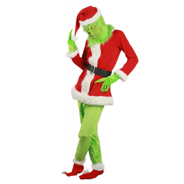 How the Grinch Stole Christmas Movie Cosplay Grinch Full Set of Costume With Mask For Halloween