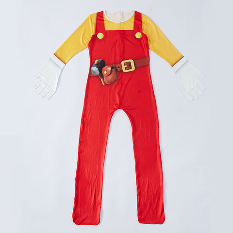 Kids Mario Costume Super Mario Maker 2 Jumpsuit With Gloves Halloween Costume Party