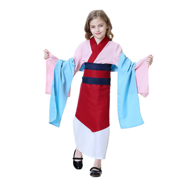 Mulan Girls Costume Kids Halloween Heroine Cosplay Outfit